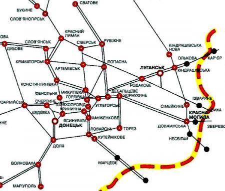 Железные дороги на востоке Украины