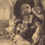Симеон Полоцкий читает стихи детям. Рисунок А.П. Апсита. Начало 1900-х гг.